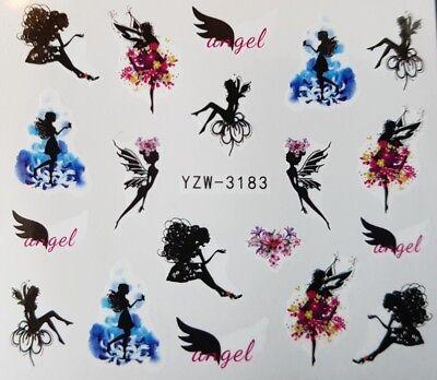 Nagelsticker Nagel Tattoos Feen Fairy Elfen Engel Blüten Flügel Nail Sticker