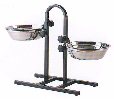 Stainless Steel Adjustable Double Diner (3 Quart Adjustable Raised Double Stainless Steel Dog Diner Bowls Food Water)
