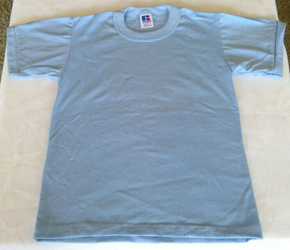 Russell Athletic Youth Small Plain Light Blue T-Shirt LOT OF