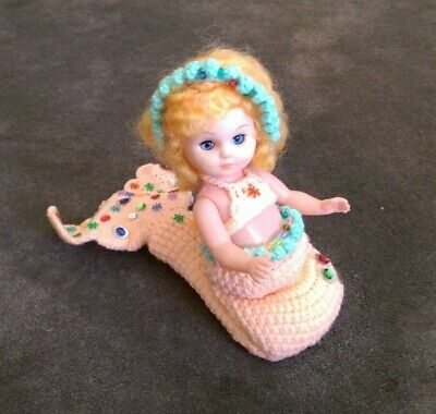 Vintage BLUE EYED BLONDE HAIR MERMAID DOLL with SEQUIN CROCHET TAIL & OUTFIT