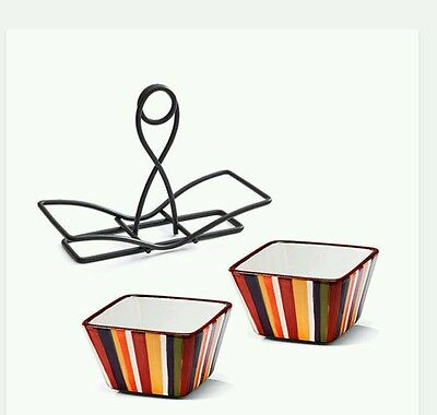 PAMPERED CHEF BRAND SMALL BOWL SET & METAL CADDY STRIPED MULTI COLOR NEW BOXED