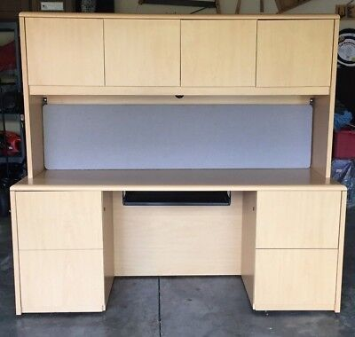 Desk Dbl Pedestal Credenza With 4 Compartment Hutch Light Wood Laminate 4 Drawer