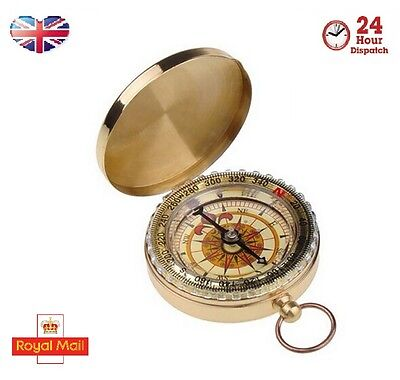 Brass Compass Camping Hiking Orienteering Sundial Military Survival