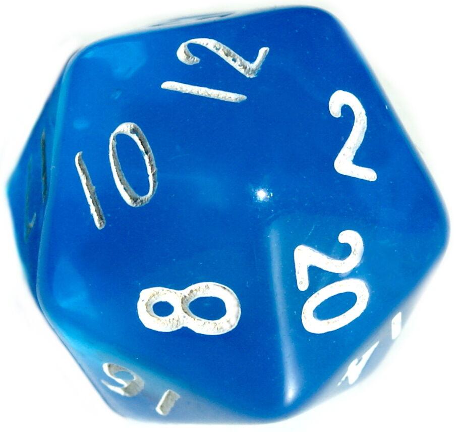 10 Stück Blau-Transparente Würfel 20Seitig (1-20) D20/W20/Knobeln/Spiele-Spaß
