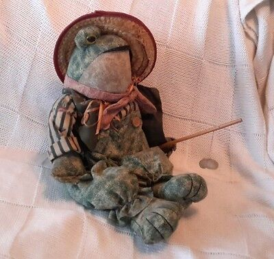 "Cloth Fisherman Frog in a Straw Hat Shelf Sitter 15"" Tall"