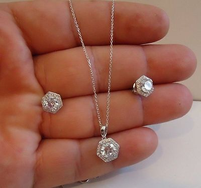 HALO CENTER NECKLACE & EARRING SET W/ 5 CT LAB DIAMONDS/925 STERLING SILVER