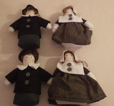 "2 Sets 4 Cloth Pilgrim's Fall Autumn Kitchen Table Decor 6"" Tall"
