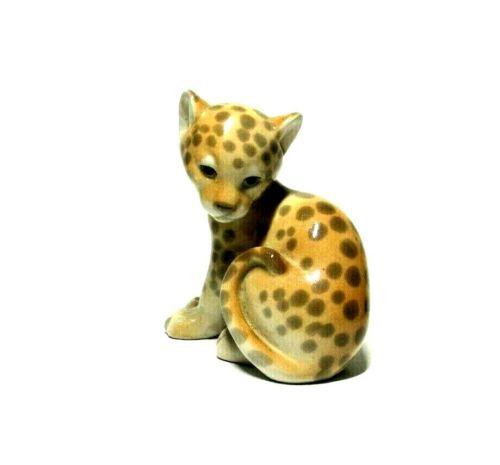"VTG Cheetah Leopard Spotted Sweet Baby Wild Big Cat Ceramic Figurine 4"""