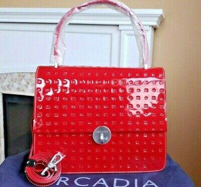 NWT ARCADIA Patent Leather Large Satchel Shoulder Bag Red Made in Italy