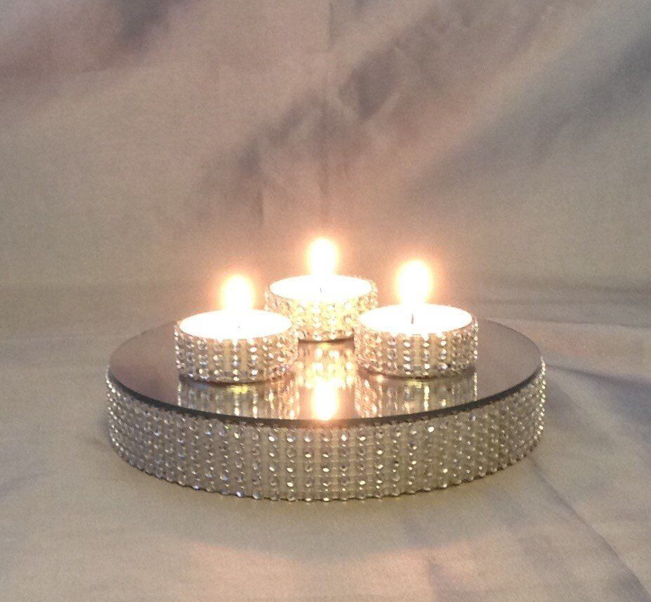 CAN POST £8 ea in boxes 12 @ £96 Round Diamond Effect Trim Wedding Table Centre Piece Mirror Plates