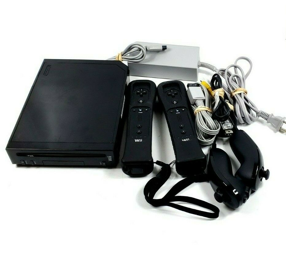 Black Nintendo Wii RVL-001 Console Bundle With 2 Controllers 2 Nunchuck - $119.99