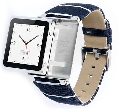 iWatchz Nautical Blue,Armband für Apple iPod Nano 6 ,Stoff,nanoclipz NEU