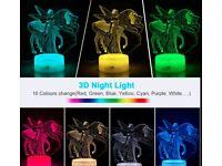 3D laser cut unicorn/fairy light with remote BNIB