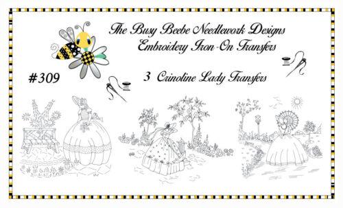 #309 - Crinoline Ladies Lady Garden Gal Belle Embroidery Iron-On Transfers