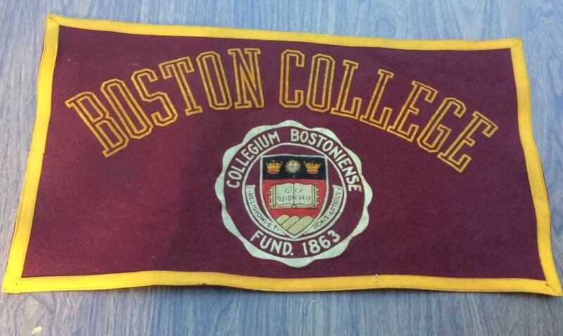 Vintage Boston College Pennant Banner by Collegiate of Ames 1950s Sign Eagles