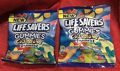 2 Bags Of Life Savers Gummies Collisions Mix - 3.6 Oz Ea Always Fresh Fast Ship - Lifesaver Gummies