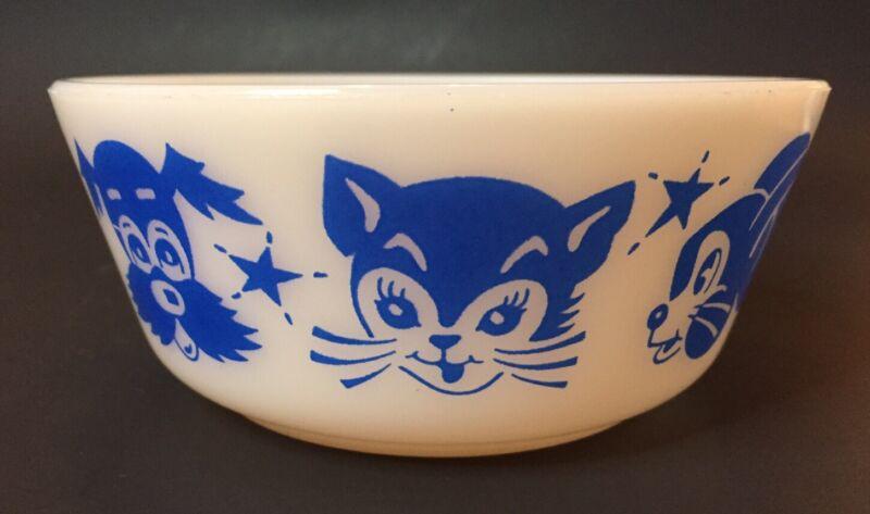 Vintage Hazel Atlas Blue Animals Kids Cereal Bowl