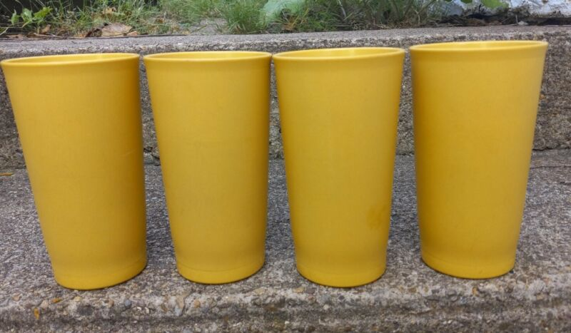 Vintage Lot of 4 Tupperware Tumbler Cups - #873 Country Harvest Yellow 12 Oz.
