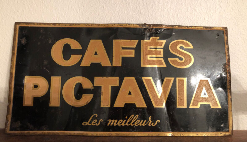 Rare Antique French Metal Tin Wall Sign Cafe Pictavia Best Cafe Old