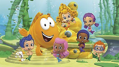BUBBLE GUPPIES WALL MURAL New XL Nickelodeon Prepasted Wallpaper Kids Room Decor - Bubble Guppies Room Decor