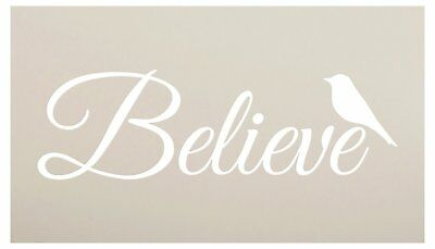 Believe Word Stencil with Bird by StudioR12 | Reuseable Mylar Template | Use...