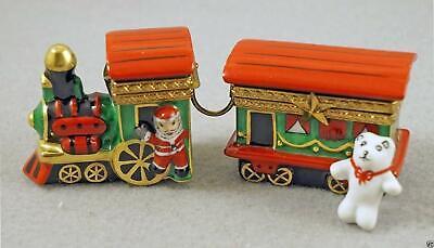New French Limoges Trinket Box Santa 's Christmas Train Set of Two Locomotive