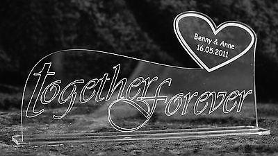 """Aufsteller """"Together Forever"""" - mit Wunschgravur - Liebe Hochzeit Valentinstag"""