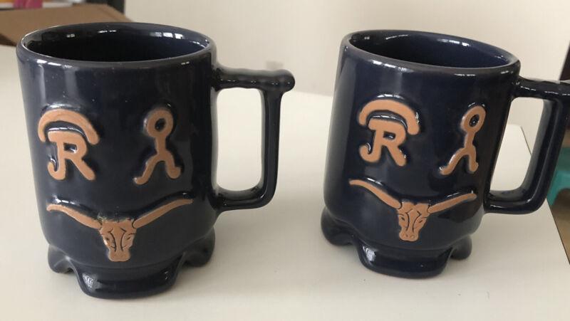 Vintage Frankoma USA Ranch Navy Blue rn306 Pottery Mugs, set of 2