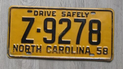 1958 North Carolina License Plate drive safely tag Z-9278