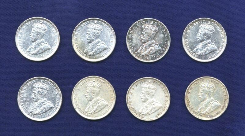AUSTRALIA  GEORGE V  1 SHILLING SILVER COINS: 1918 (2), 1927 (3), & 1936 (3)