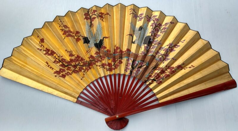 """Hand Painted Vintage Oriental Asian Fan Gold Tone w/ Birds Blossoms 35.5""""X64"""""""