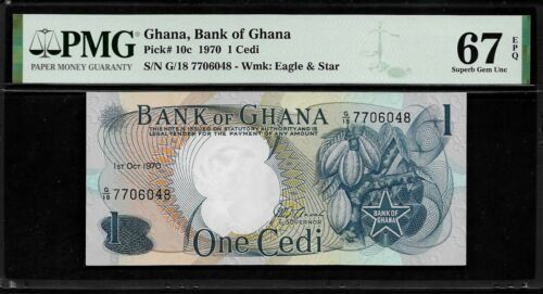 Ghana 1 Cedi 1970 PMG 67 EPQ UNC Pick # 10c
