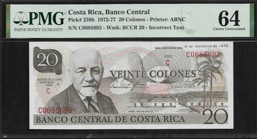 Costa Rica 20 Colones 1972 PMG 64 UNC Pick # 238b