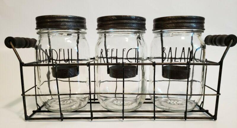 Rae Dunn Clear Mason Jars Candle Holder/Utensil Holder Caddy Farmhouse Look