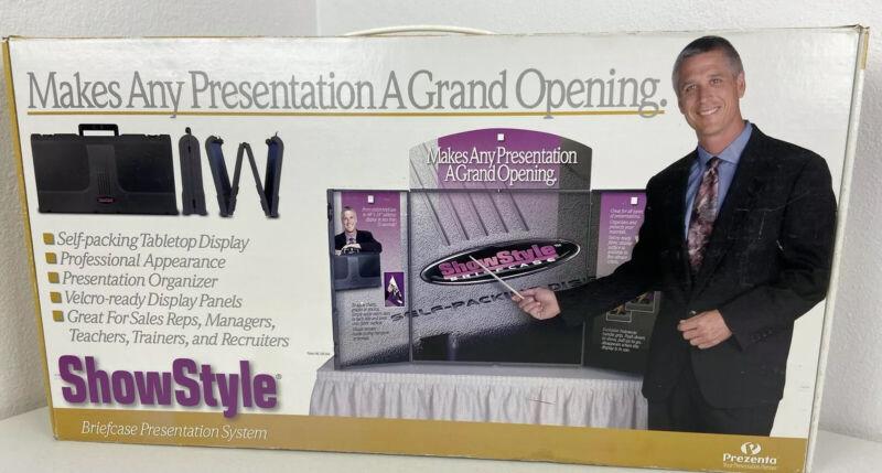 "ShowStyle Briefcase Display Presentation System in Black 24"" X 48"" by Prezenta"