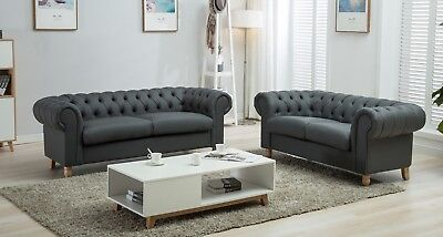 Chesterfield Sofa 2 3 Seat Black Grey Faux Leather Cloth Wooden Leg Suite