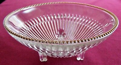 Jeannette Clear Glass w/. Gold Trim Ribbed Candy or Nut Three Footed Small Bowl