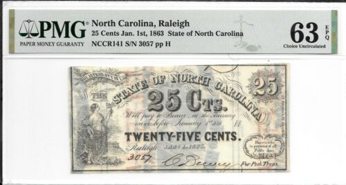 NCCR141 1863 25 Cents State of North Carolina Raleigh S/N 3057 PMG 63 EPQ