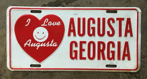 Vintage I LOVE AUGUSTA GEORGIA 1980s Front Vanity Booster License Plate