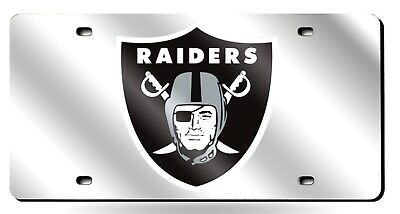 Oakland Raiders SILVER Premium Laser Acrylic Inlaid License Plate Tag -