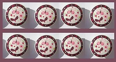SALE:  8 BUTTERFLY FLOWER PINK BROWN CARTER DRESSER  KNOBS READY TO -