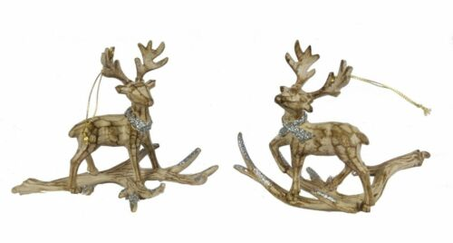 2 Kurt Adler Rustic Wood Style Reindeer Christmas Ornaments~Silver Glitter~34
