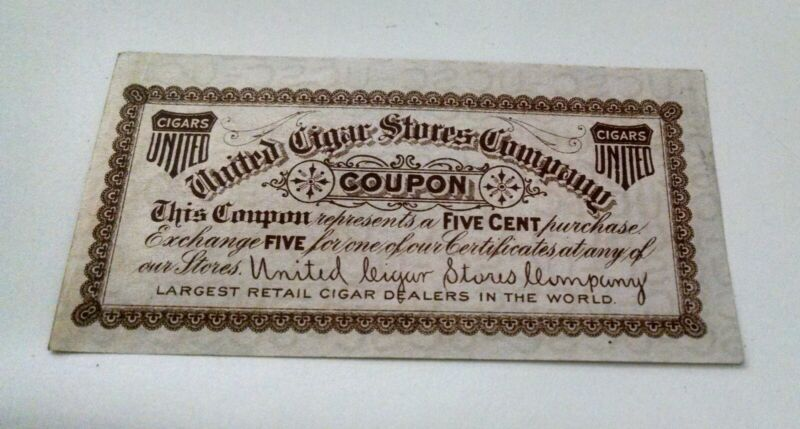 United Cigar Stores Company 5 cent coupon expires April 30th 1907
