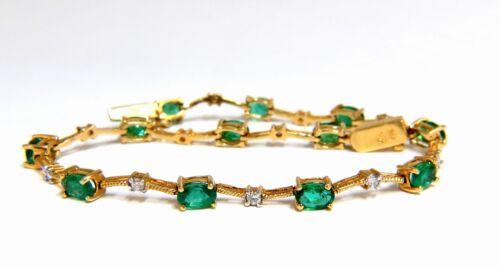 7.40ct Green Natural Emerald Diamonds Vine Bracelet 14k G/vs