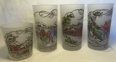 Set of 4 Royal CURRIER & IVES Frosted Glass Tumblers w Hand Painted Scenes