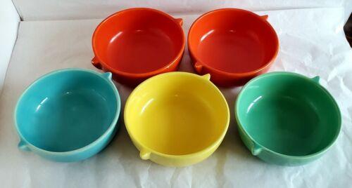 VNTG Lot of 5 Early GMB Franciscan El Patio Glossy Tab Handle Soup Bowls (W56)