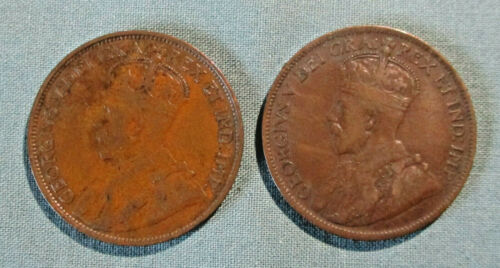 CANADA 1913 and 1915 Large Cent - (2) 1 penny coin George V