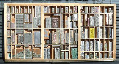 - Letterpress Art Wall Hanging Vintage Type Drawer & Whittier CA USA Printing Dies