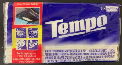 8 PACKS GENUINE TEMPO TISSUE REFILL WIPE CAR VISOR TISSUES
