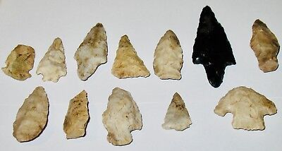 12 Old Indian Arrowheads-Early American Collectibles